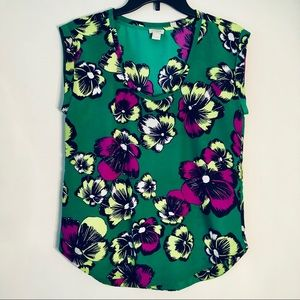 J Crew Factory Floral Printed Drapey Scoopneck Top